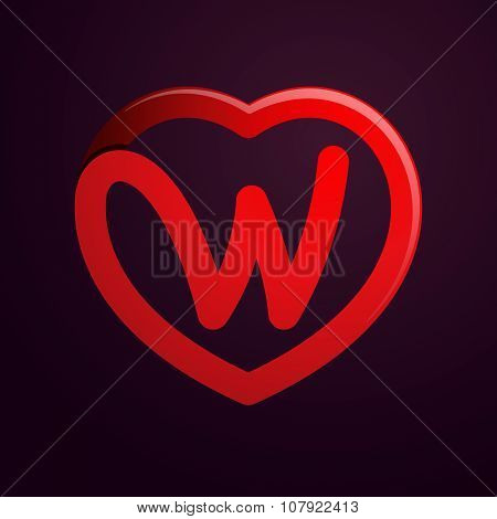 W Letter With Red Heart.