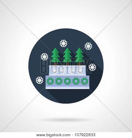 Winter pie blue round flat vector icon
