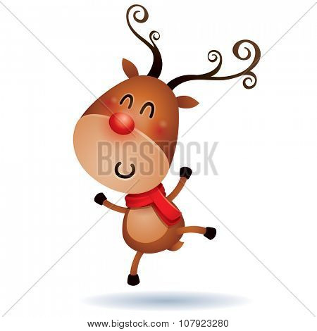 The Red-nosed Reindeer jumping up in excitement