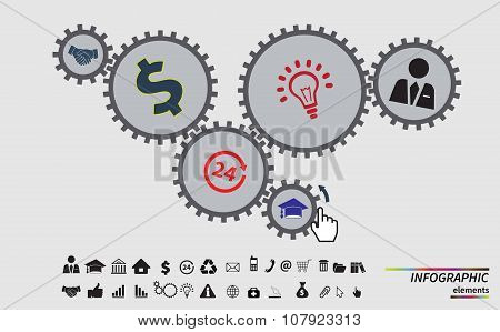 Business mechanism concept. Abstract background. Vector infographic illustration