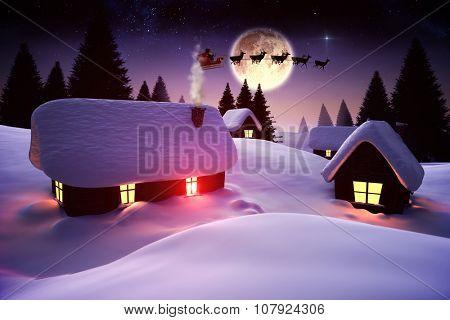 Digitally generated Santa flying over village at night