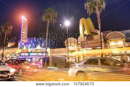 Los Angeles - March 20, 2015: Side View Of World Famous Hollywood Boulevard By Night. In 1958, The W