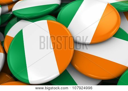 Pile Of Irish Flag Badges - Flag Of Ireland Buttons Piled On Top Of Each Other
