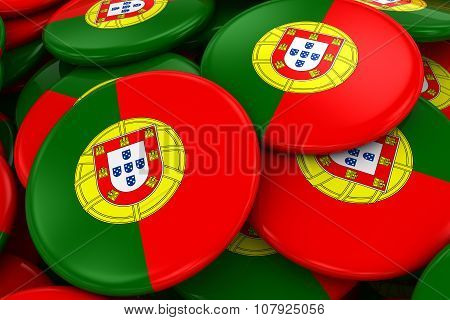 Pile Of Portuguese Flag Badges - Flag Of Portugal Buttons Piled On Top Of Each Other
