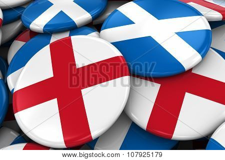 Flag Badges Of England And Scotland In Pile - Concept Image For English And Scottish Relations