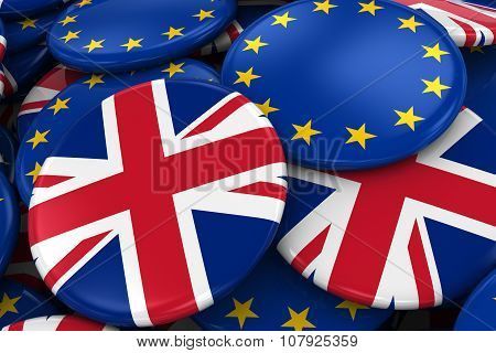 Flag Badges Of Britain And Europe In Pile - Concept Image For Uk And European Relations