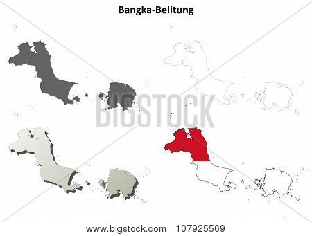 Bangka-Belitung blank outline map set
