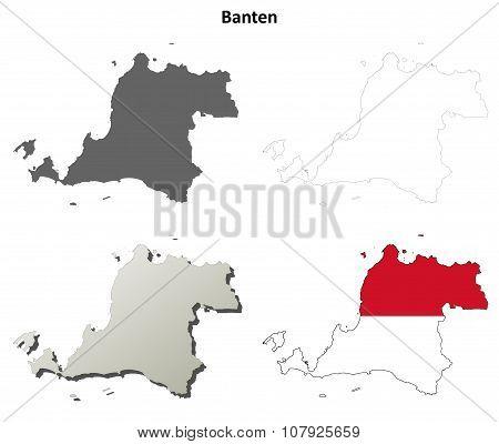 Banten blank outline map set