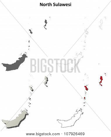 North Sulawesi blank outline map set