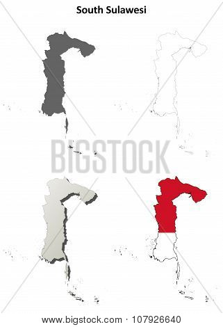South Sulawesi blank outline map set