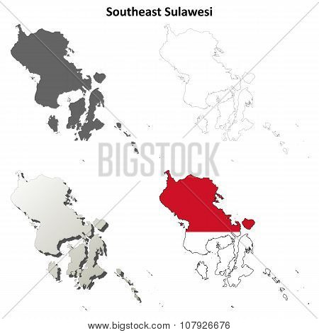 Southeast Sulawesi blank outline map set