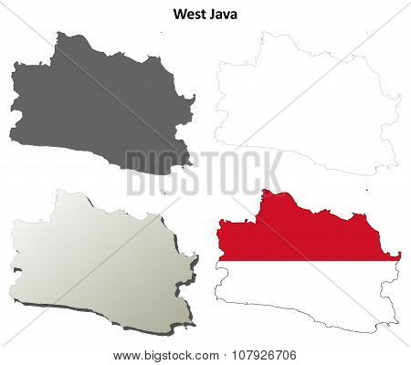 West Java blank outline map set