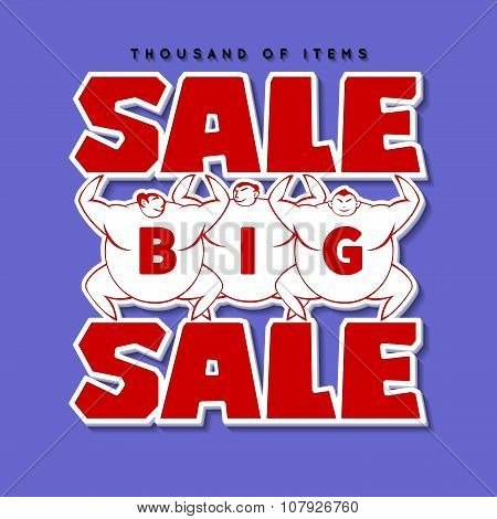 Big Men and Big Sale. Sale Background