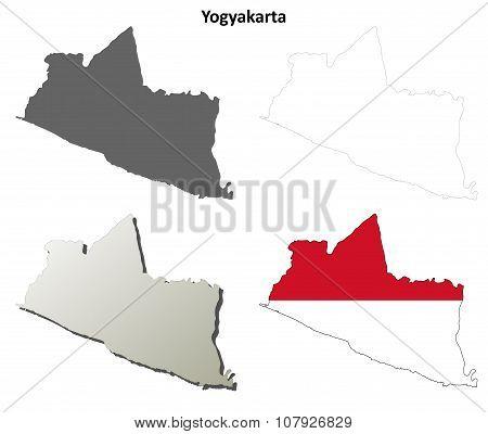 Yogyakarta blank outline map set