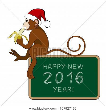 Monkey Eating Banana With A Greeting Tablet