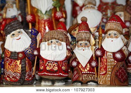 Santa Decorations Selling During Christmas Market
