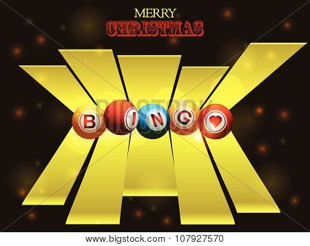 Bingo Balls Over Festive Background And 3D Stripes