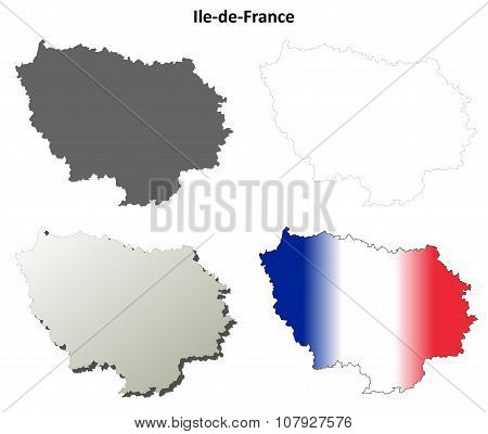 Ile-de-France blank detailed outline map set