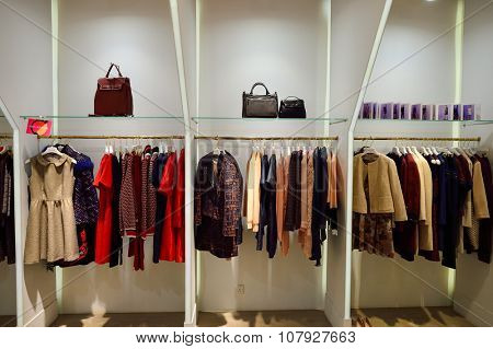 HONG KONG - NOVEMBER 02, 2015: interior of a boutique in New Town Plaza. New Town Plaza is a shopping mall in the town centre of Sha Tin in Hong Kong. Developed by Sun Hung Kai Properties