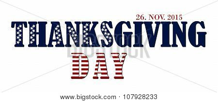 Thanksgiving Day Letters In Usa Flag Colors And Stars