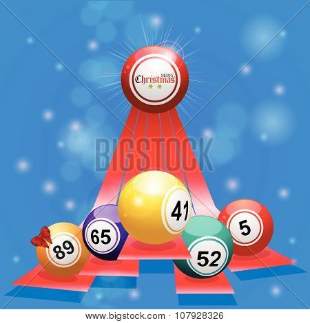 Christmas Bingo Balls Over 3D Stripes On Blue Background