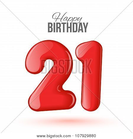 21 birthday. Greeting card with numbers.