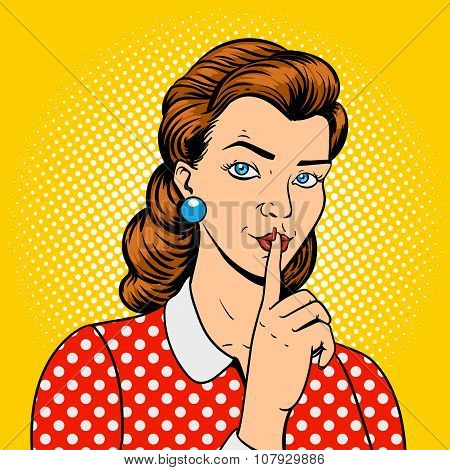 Girl with finger silence gesture vector