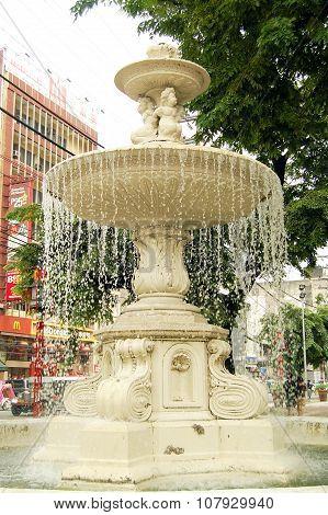 Plaza Lorenzo Ruiz fountain in Binondo, Manila, Philippines