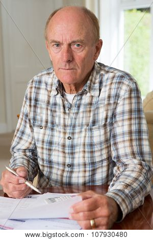 Concerned Senior Man Reviewing Domestic Finances