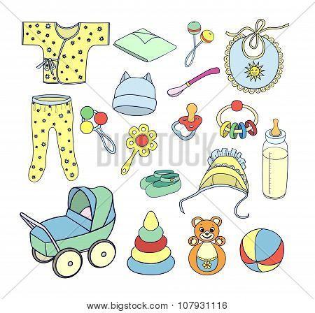 Things And Toys For Babies. Icons Set