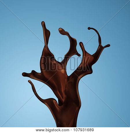 Splash of brownish hot coffee or chocolate isolated on blue background