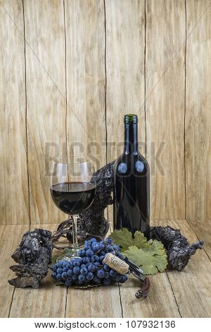Grapes, Wine Glass And Bottle