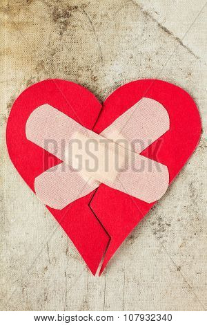 Broken Heart On Dirty Background
