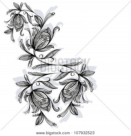Floral Pattern, Rose Black And White