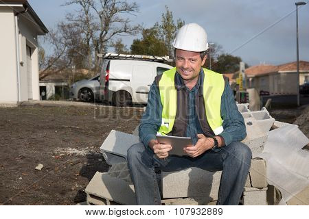 Portrait Of A Man Wearing A Safety Helmet