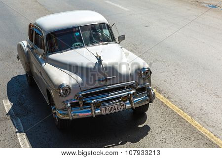 HAVANA, CUBA - CIRCA AUGUST 2015: An Old Car in the center of Havana, Cuba