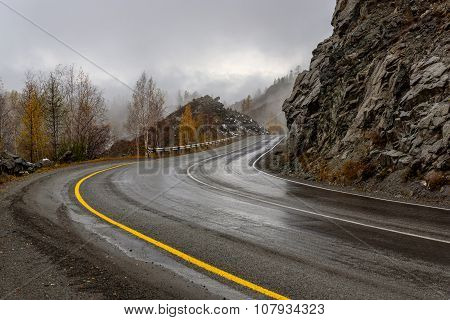 Road Mountains Autumn Fog Curve