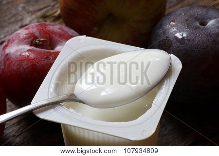 Commercial fruit yoghurt