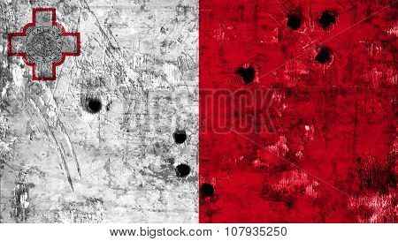 Flag of Malta, Maltese flag painted on metal with bullet holes