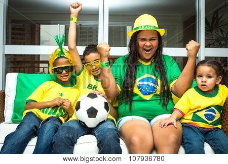 Brazilian family celebrating at home