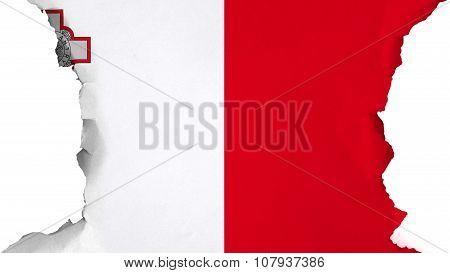 Flag of Malta, Maltese flag painted on paper texture