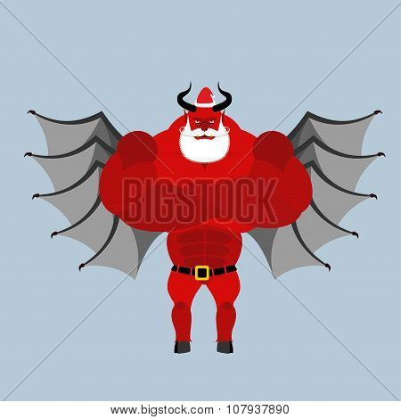 Satan Claus. Devil With Beard And Mustache. Red Demon With Horns Clothed Clothing Santa Claus. Stron