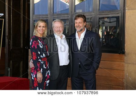 LOS ANGELES - NOV 05:  Kristen Wiig, Russell Crowe, Ridley Scott at the Ridley Scott Hollywood Walk of Fame Star Ceremony at the Hollywood Blvd on November 05, 2015 in Los Angeles, CA