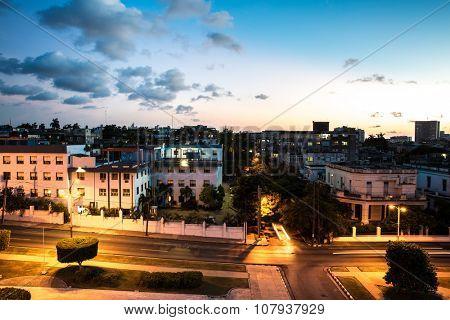 Colorful sunset in Vedado neighborhood in Havana, Cuba