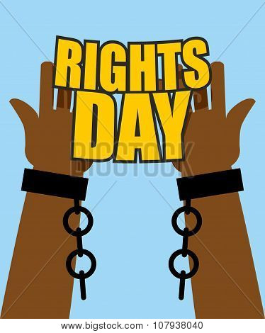 Human Rights Day. Poster For International Festival. Arm Slave With Broken Shackles. Hands Free From
