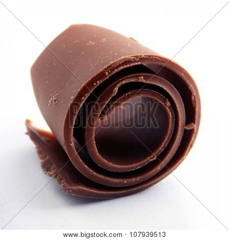 Chocolate curl isolated on white