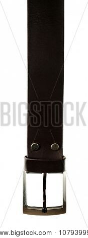 Leather belt with buckle isolated on white