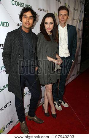 LOS ANGELES - NOV 11:  Kunal Nayyar, Zoe Lister-Jones, Daryl Wein at the