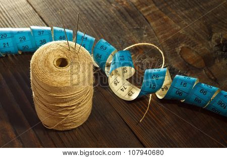Thread, Needles And  Measuring Meter