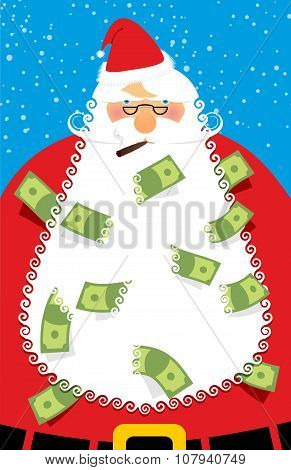Rich Santa Claus. Many Money In His Beard. Santa Brought Us Dollars As  Gift For Good Of People. Adu